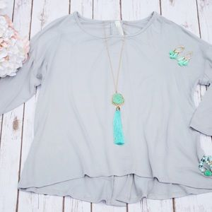 Tops - Grey back button down shirt!